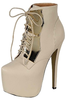 Cream Bootie Tie Up Heel