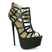 Black Caged Platform Heel