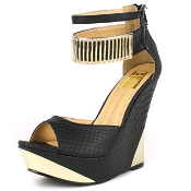 Black and Gold Ankle Strap Wedge
